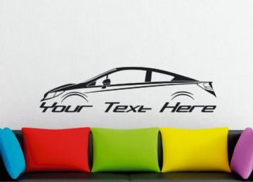 Large Custom car silhouette wall sticker - for Honda Civic SI coupe | 9th gen